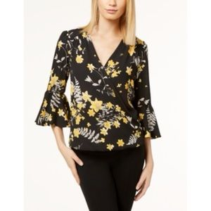 INC Black & Yellow Chiffon Wrap Bell Sleeve Top